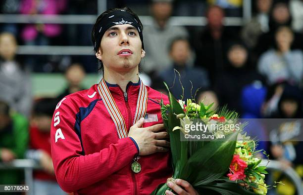 Apolo Anton Ohno salutes on the podium after the medals ceremony of the Men's overall of the 2008 ISU World Short Track Speed Skating Championships...