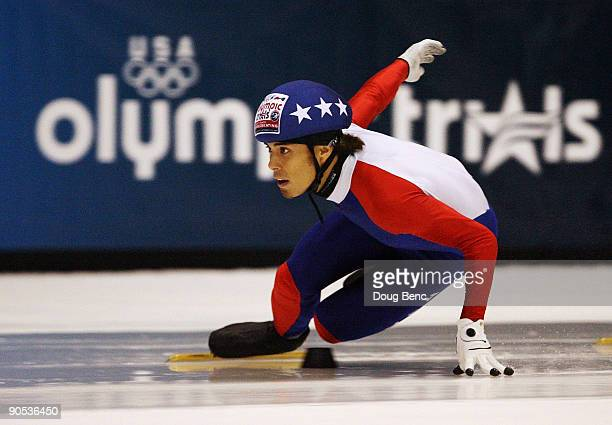 Apolo Anton Ohno skates during the Men's 500 Meter Semifinals at the US Short Track Speedskating Championships at the Berry Events Center on...