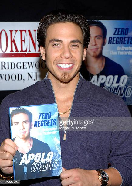 """Apolo Ohno promotes his book """"Zero Regrets"""" at Bookends Bookstore on October 28, 2010 in Ridgewood City."""