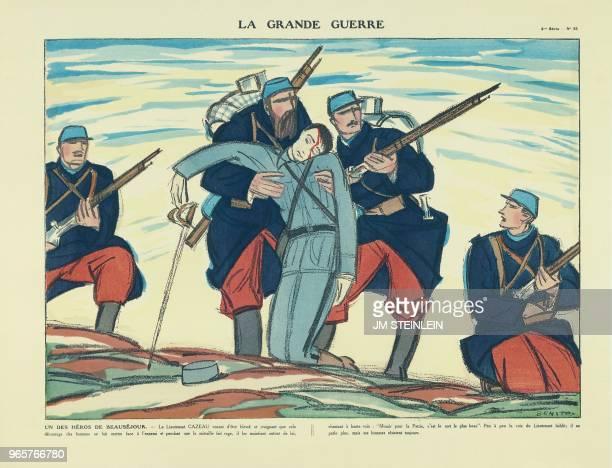 Apologie du Lieutenant CAZEAU qui blessé dans la contreattaque française près de la ferme de Beauséjour le 29 février 1915 demande à ses hommes de le...