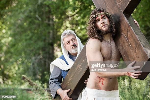 Apostle Helping Jesus Christ to Carry Cross