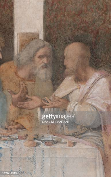 Apostles Jude Thaddeus and Simon the Zealot detail from The Last Supper or Cenacolo 14951497 by Leonardo da Vinci after its restoration completed in...