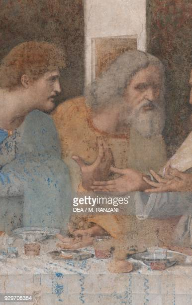 Apostles Matthew and Jude Thaddeus detail from The Last Supper or Cenacolo 14951497 by Leonardo da Vinci after its restoration completed in 1999...
