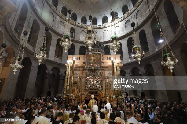Apostolic Administrator of the Latin Patriarch of Jerusalem, Pierbattista Pizaballa , leads the Easter Sunday procession at the Church of the Holy...