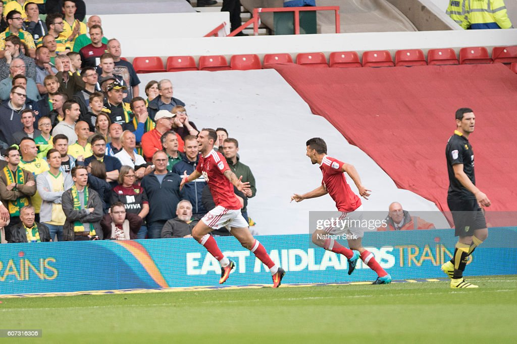 Apostolos Vellios celebrates for Nottingham Forrest during the Sky Bet Championship match between Nottingham Forest and Norwich City at the City Ground on September 17, 2016 in Nottingham, England.