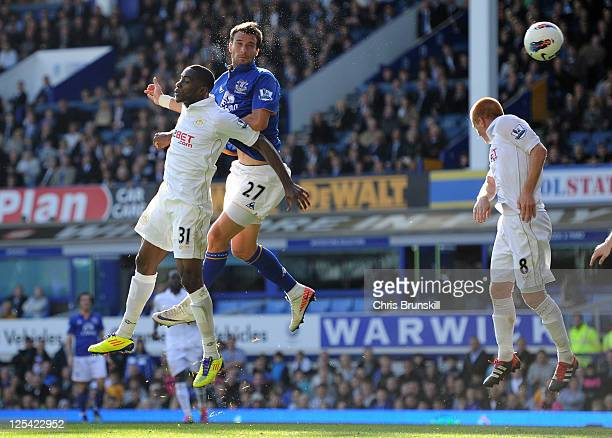 Apostolos Vellios of Everton scores his team's second goal during the Barclays Premier League match between Everton and Wigan Athletic at Goodison...
