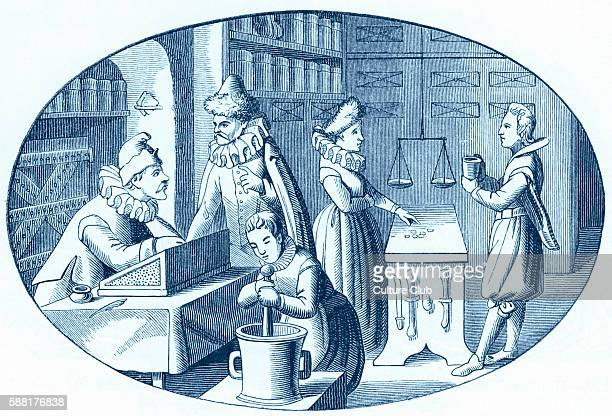 Apothecarys shop reproduced from a seventeenth century stamp from Vriese The caption reads Shop of a Grocer and Druggist