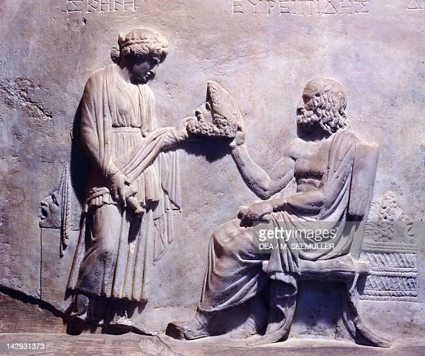 Apotheosis of Euripides attic relief from Smyrna Turkey Greek civilization 1st century BC Istanbul Arkeoloji Muzerleri