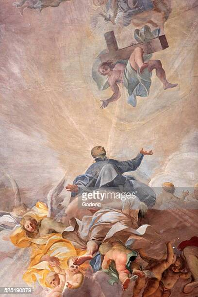 Apotheosis of St Ignatius of Loyola and the allegory of the missionary work of the Jesuits By the Jesuit painter Andrea Pozzo The Church of Saint...