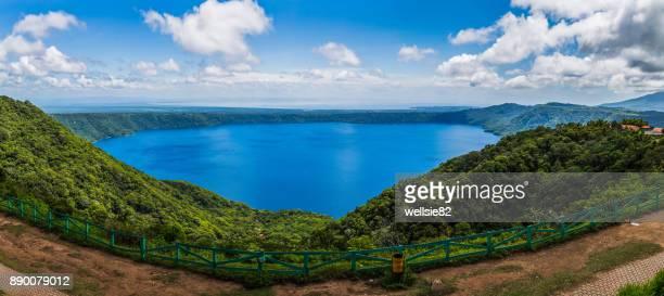 apoyo lagoon panorama - masaya volcano stock pictures, royalty-free photos & images