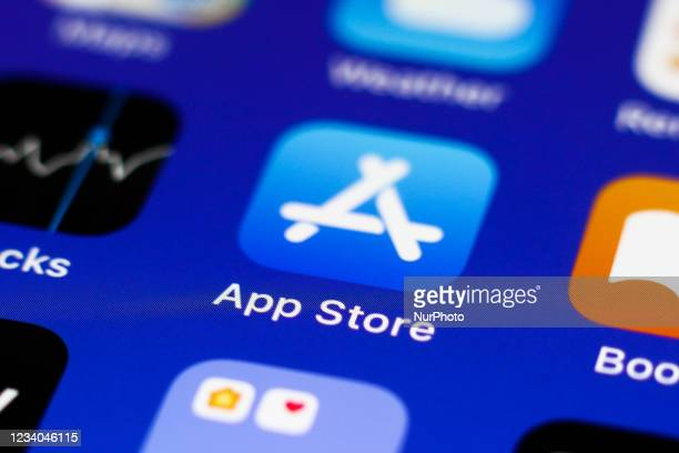 App Store icon displayed on a phone screen is seen in this illustration photo taken in Krakow, Poland on July 18, 2021.