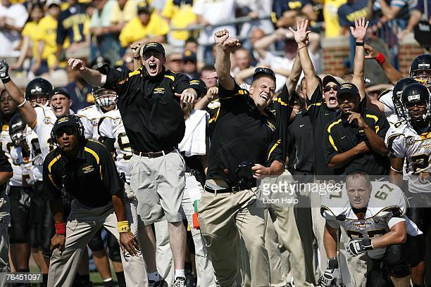 Appalachian State celebrates their victory over the Michigan Wolverines 34-32 on September 1, 2007 at Michigan Stadium in Ann Arbor, Michigan.