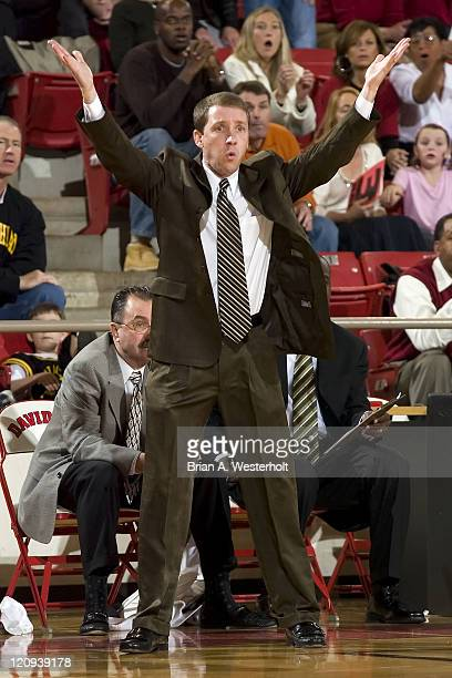Appalachian State head coach Houston Fancher can't believe a call during first half action versus Davidson at Belk Arena in Davidson NC Saturday...