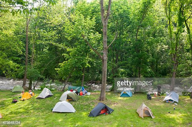 Appalachian Trail thru-hikers camping in Damascus, Virginia