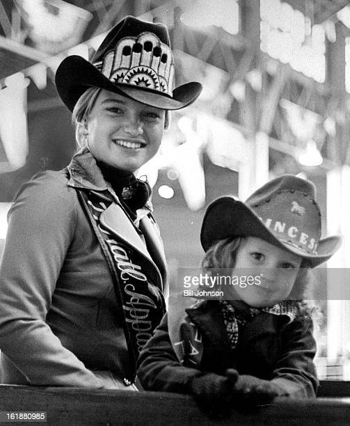 JAN 17 1978 JAN 20 1978 Appaloosa 'Royalty' Dresses the part at stock show National Appaloosa queen Kim Abrahamson Jolene Smith in judges box