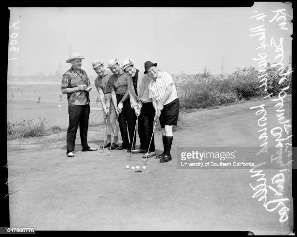 Apparel Club golf tournament 15 August 1961 Alex JamesLeonard MillerKen SeelyeJerry ArestyArt RossCaption slip reads 'Photographer Jensen Date...