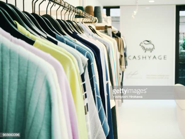 apparel maker displays new products - fashion collection stock pictures, royalty-free photos & images