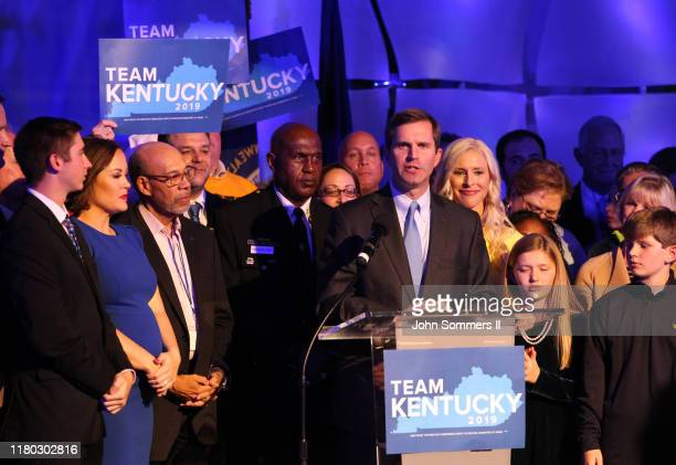Apparent Govelect Andy Beshear celebrates with supporters after voting results showed the Democrat holding a slim lead over Republican Gov Matt Bevin...
