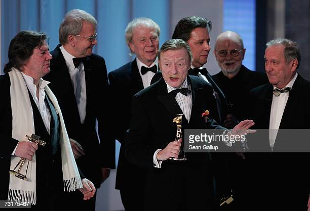 Apparently drunk actor Otto Sander and other members of the production team from the film Das Boot celebrate their Film Anniversary Award at the 42nd...