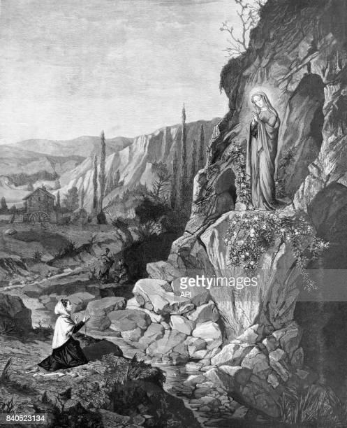 Apparition de la Vierge à Bernadette Soubirous dans la grotte de Massabielle à Lourdes, en 1858, France.
