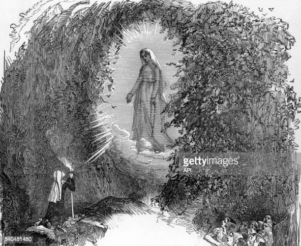 Apparition de la vierge à Bernadette Soubirous à Lourdes, France..