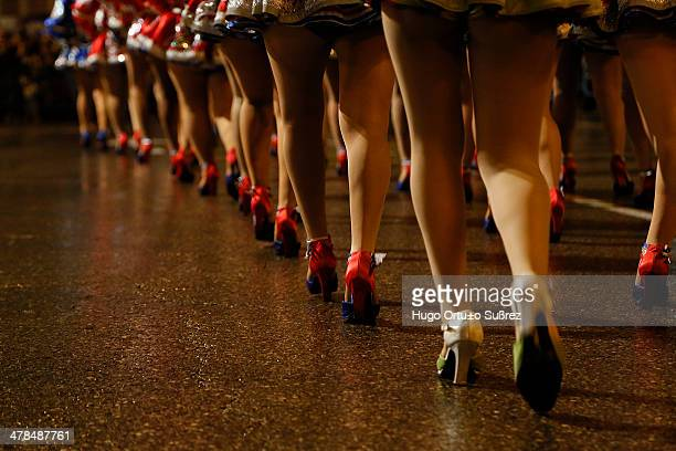 Appearance of several dancers legs of the Bolivian Community in the perform of his show at the start of the Madrid Carnival Thousands of people...
