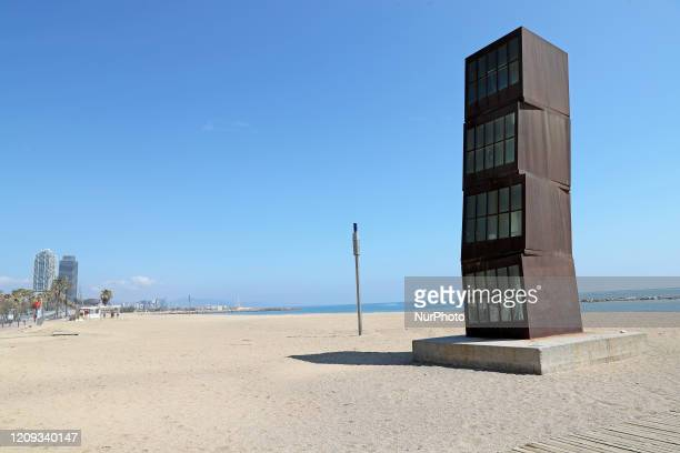 Appearance of the Barceloneta area beach during the Eastern week holidays on the day 23 of confinement decreed by the government for tue coronavirus,...