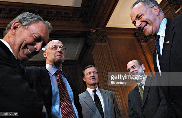 Appearing from left to right, New York City Mayor Michael Bloomberg, U.S. Treasury Secretary Henry Paulson, U.S. Securities and Exchange Commission...