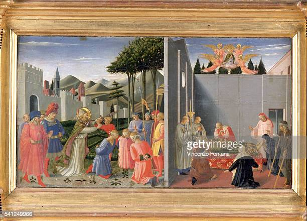 St Nicolas on his deathbed with angels|Appearing in bottom left panel St Nicolas freeing from torment three condemned innocents 1437 Located in La...