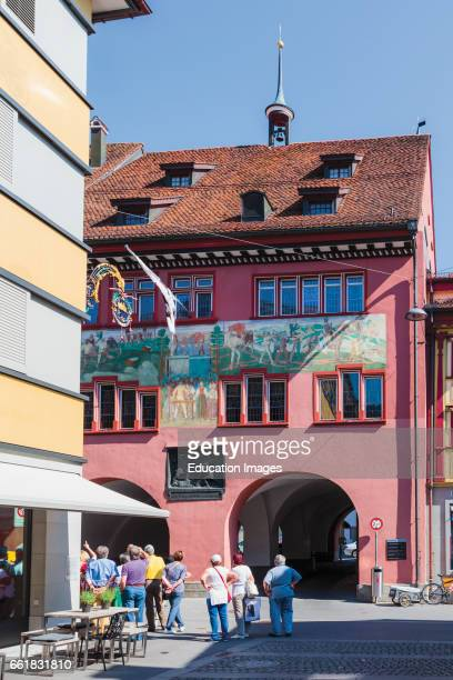 Appenzell Appenzell Innerrhoden Canton Switzerland Visitors admiring the town hall facade in Hauptgasse the main street