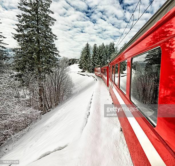 Appenzeller Bahnen red train in beautiful Swiss winter view