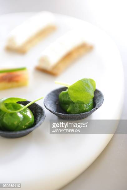 Appetizer or amusebouche Emmanuel Renaut chef 3 stars at Michelin guide Flocons de Sel hotel and restaurant on January 7 2011 in Megeve HauteSavoie...