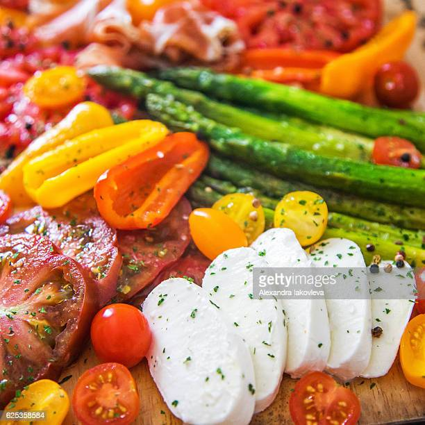 Appetizer plate - grilled vegetables with Mozzarella cheese