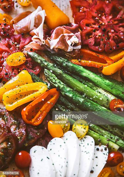 Appetizer plate - grilled veggies with jamon and Mozzarella cheese