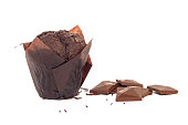 appetizing fresh muffin with chocolate pieces