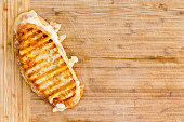 Appetizing grilled panini bread cheese sandwich