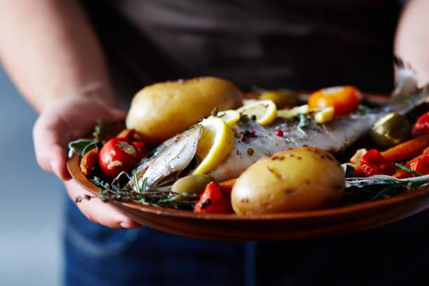 烤魚開胃菜 - 焗 預備食物 個照片及圖片檔
