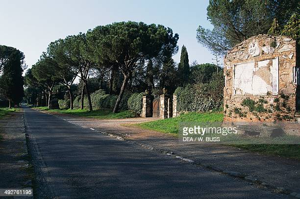 Appian Way epitaph on the Tomb of the sons of Sextus Pompey Giusto on the right Rome Lazio Italy