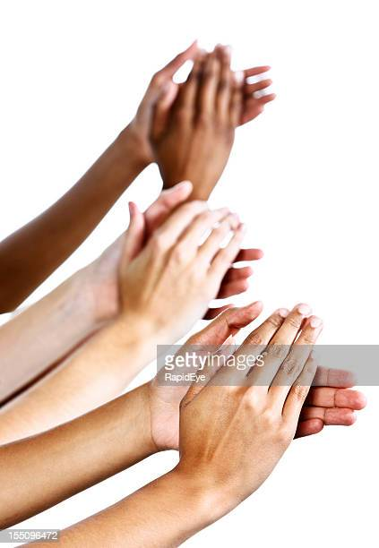 Applause as three female hands clap enthusiastically against white