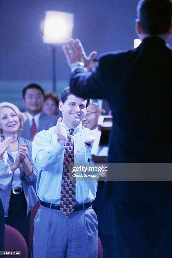 Applause at Press Conference : Stock Photo
