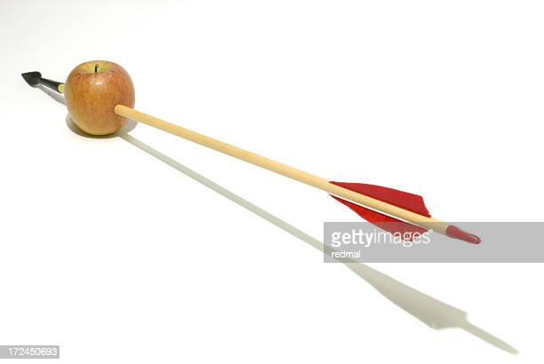 apple and arrow - arrow stock photos and pictures