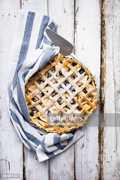 Apple and blueberry lattice pie
