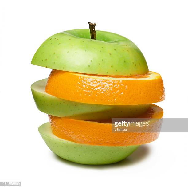 apple and orange - concentratie stockfoto's en -beelden