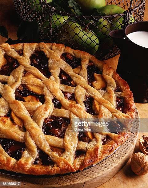 Apple and walnut lattice pie