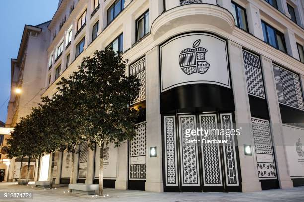 Apple announces it's first store in ViennaAustria opening on February 24 with a custom vinyl seen on February 1 2018 in Vienna Austria