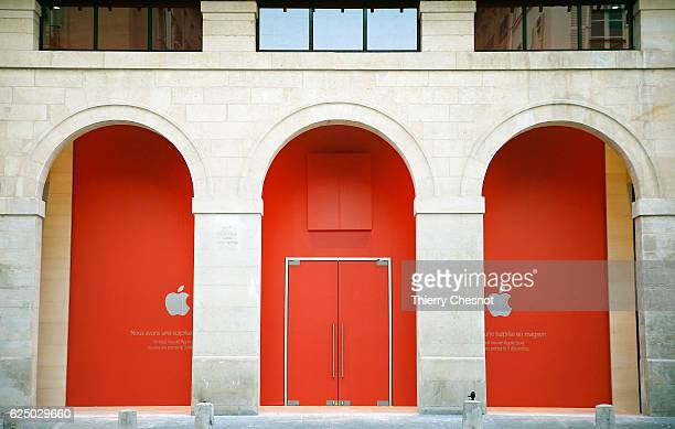 Apple announces new store in Marche Saint Germain and the opening date on custom barricade on November 22 2016 in Paris France