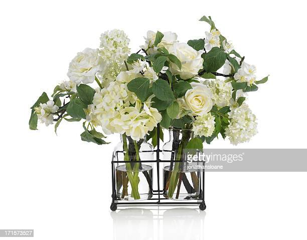 Apple blossom and rose bouquet on white background