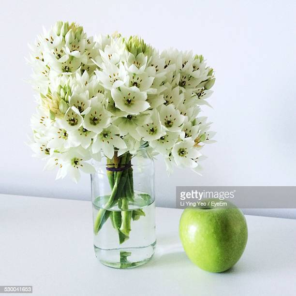Apple Blossoms In Vase By Green Apple On While Table
