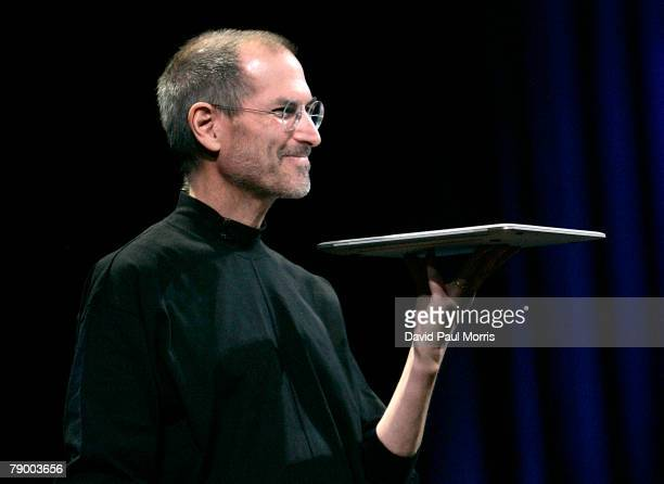 Apple CEO and cofounder Steve Jobs delivers the keynote speech to kick off the 2008 Macworld at the Moscone Center January 15 2008 in San Francisco...