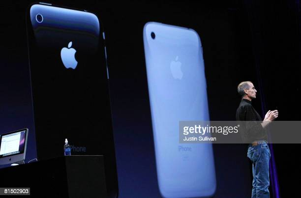 Apple CEO Steve Jobs announces the new iPhone 3G as he delivers the keynote address at the Apple Worldwide Web Developers Conference June 9, 2008 in...